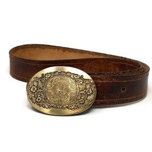 80's Vintage OC Tanner Buckle & Hand Stamped Belt